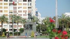 Izmir Cumhuriyet square and people enjoying at city center Stock Footage