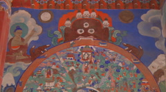 Buddhist Murals Stock Footage
