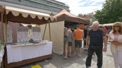 Street market in Republic Square, Prague Stock Footage