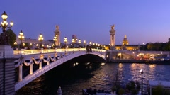 Paris, Alexandre iii bridge and hotel des Invalides Stock Footage