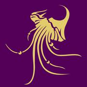 Vector jellyfish icon - stock illustration