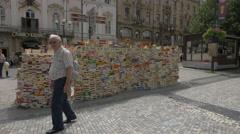 Small blocks of paintings on Prikope Street, Prague Stock Footage