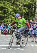 Acrobat Amateur Cyclist - Tour de Freance 2014 Stock Photos