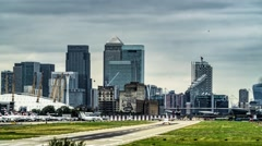 Timelapse view of the City airport in London Arkistovideo