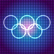 Vector glowing olympic rings background. Eps10 - stock illustration