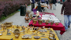 Antique market. Flea market  Stock Footage