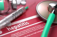 Hepatitis. Medical Concept on Red Background - stock illustration
