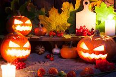 Halloween still life with pumpkins - stock photo