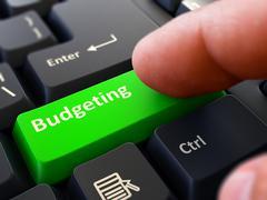Finger Presses Green Keyboard Button Budgeting - stock illustration