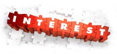 Interest - Text on Red Puzzles - stock illustration