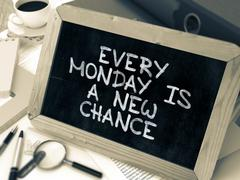 Every Monday is a New Chance Handwritten on Chalkboard - stock illustration