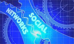 Social Networks on the Cogwheels. Blueprint Style - stock illustration
