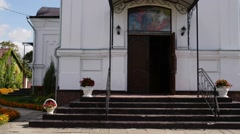 Holy Cross Church in town Vysokaye Stock Footage
