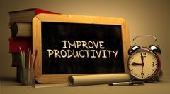 Improve Productivity Handwritten on Chalkboard Stock Illustration