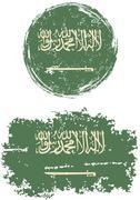 Saudi Arabian round and square grunge flags. Vector illustration - stock illustration