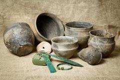 Housewares of bronze century - stock photo