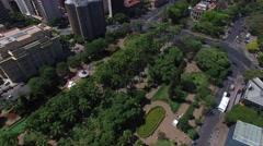 Aerial view from Praça da Liberdade to Belo Horizonte skyline Stock Footage