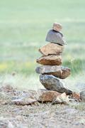 stones drawn each other like a pyramid - stock photo