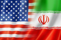 USA and Iran flag - stock illustration