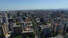Aerial view from Praça da Liberdade to Belo Horizonte skyline Stock Footage