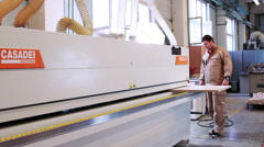 Modern Automatic Edge Banding Machine at the woodworking and furniture Industry. Stock Footage