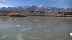 Indus valley with mountains at background. Ladakh, jammu and Kashmir, India Stock Footage