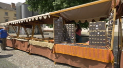 Row of stalls in the Republic Square, Prague Stock Footage