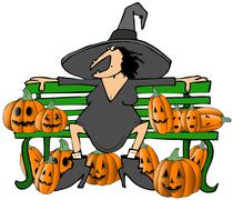 Witch on a bench Stock Illustration