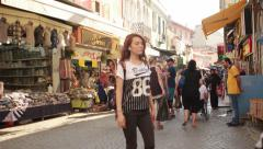 IZMIR - JULY 2015: Historical shopping district Kemeralti Stock Footage