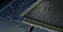 Macro shot on technology circuit board  rotating with CG and VFX . 4K - stock footage