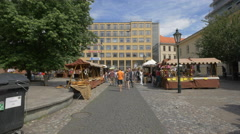 Walking between the street stalls in the Republic Square, Prague Stock Footage