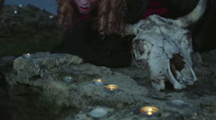Stock Video Footage of red-haired witch blowing out the candles