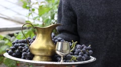 Winemaker with a tray Stock Footage