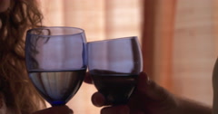 Wine Glass Toast, Romantic Celebration - stock footage