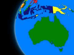 Stock Illustration of Australian continent on political Earth