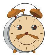 Cartoon alarm clock - stock illustration