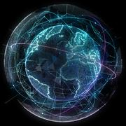 Abstract map of the global telecommunications network - stock illustration
