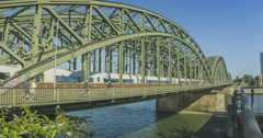 Train bridge Hohenzollernbrücke in Cologne Stock Footage