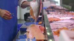 Fishmonger Boning Fish Stock Footage