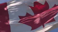 Canadian flag waving in the wind in Markham Ontario Stock Footage