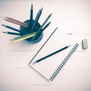 Notepad with color pencil vintage style Stock Photos