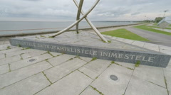 Sculpture near sea in Tallinn in Estonia Stock Footage
