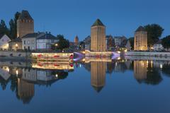 Covered bridge, in the petite france, Strasbourg, Bas-Rhin, Alsace, France. - stock photo