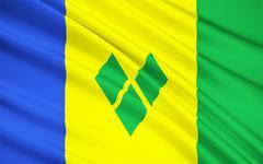 Flag of Saint Vincent and the Grenadines, Kingstown Stock Illustration