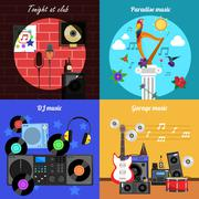 Melody And Instruments Banners Set Stock Illustration