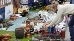 Antique market. Flea market 6 Stock Footage
