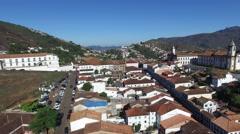Aerial View of Ouro Preto city, Minas Gerais, Brazil Stock Footage