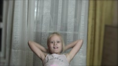 Girl trains a press in the room Stock Footage