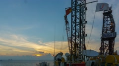 Timelapse on helideck, jack up rig oil and gas industry - stock footage