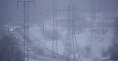 4K Natural Disaster Snowfall in Industrial Area at Twilight - stock footage